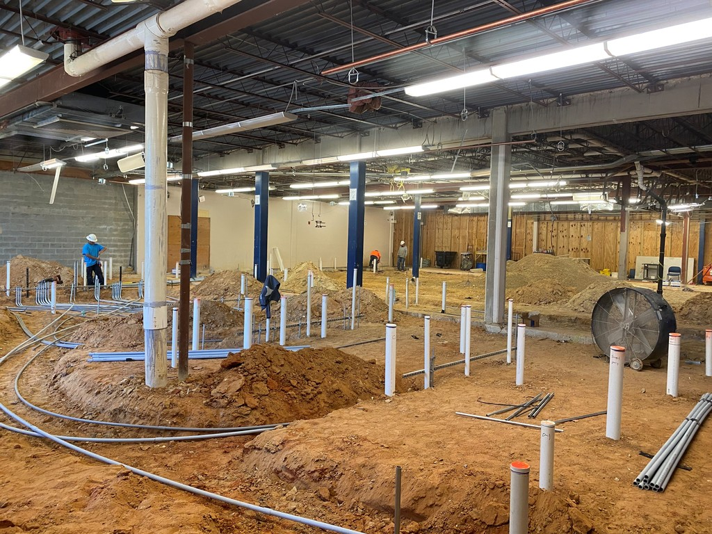 Tyler High School's food service and kitchen now getting plumbing installed.